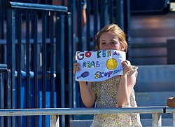 LIVERPOOL, ENGLAND - Sunday, June 24, 2018: A young spectator in the crowd shows a homemade sign in supporting Neal Skupski (GBR) and Ken Skupski (GBR) during day four of the Williams BMW Liverpool International Tennis Tournament 2018 at Aigburth Cricket Club. (Pic by Paul Greenwood/Propaganda)
