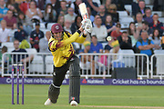 Craig Overton drives during the NatWest T20 Blast Quarter Final match between Notts Outlaws and Somerset County Cricket Club at Trent Bridge, West Bridgford, United Kingdom on 24 August 2017. Photo by Simon Trafford.