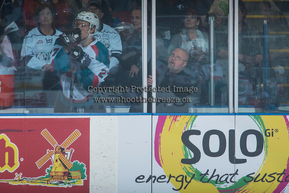 KELOWNA, CANADA - MARCH 25: Calvin Thurkauf #27 of the Kelowna Rockets stands in the penalty box against the Kamloops Blazers on March 25, 2017 at Prospera Place in Kelowna, British Columbia, Canada.  (Photo by Marissa Baecker/Shoot the Breeze)  *** Local Caption ***