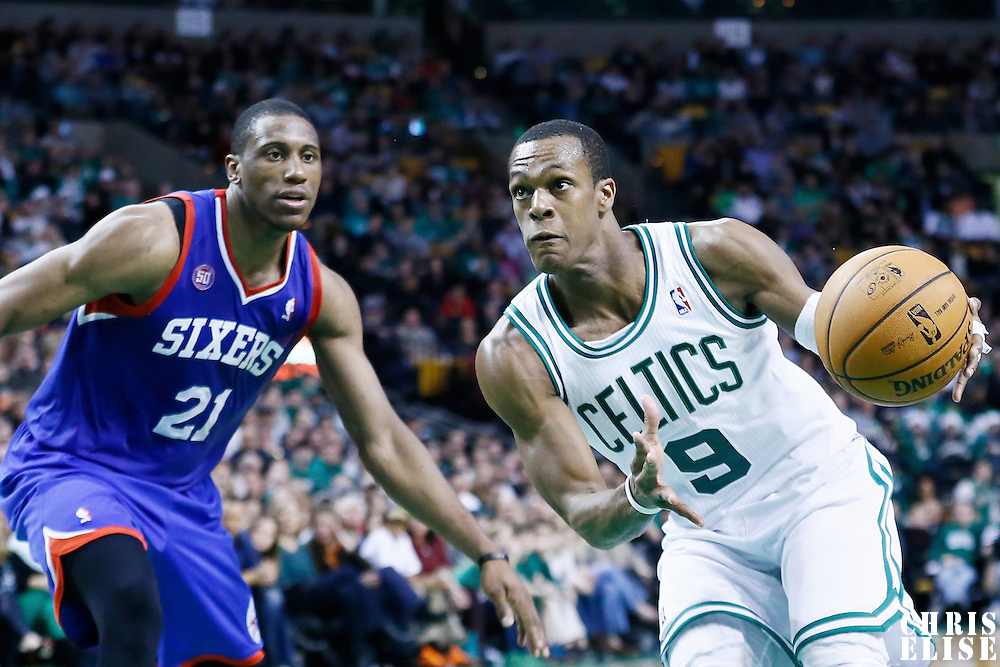 08 December 2012: Boston Celtics point guard Rajon Rondo (9) drives past Philadelphia 76ers small forward Thaddeus Young (21) during the Boston Celtics 92-79 victory over the Philadelphia 76ers at the TD Garden, Boston, Massachusetts, USA.