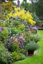 Autumn border in John Massey's garden with Salvia 'Amistad', dahlias, heleniums, helianthus and asters. Tall thistle sculpture.