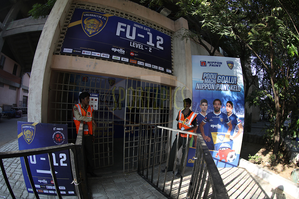 Sign boards during match 41 of the Hero Indian Super League between Chennaiyin FC and Delhi Dynamos FC   held at the Jawaharlal Nehru Stadium, Chennai India on the 7th January 2018<br /> <br /> Photo by: Arjun Singh  / ISL / SPORTZPICS