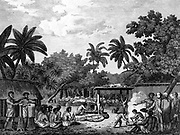 James Cook (1728-79) English navigator, witnessing human  sacrifice in Taihiti (Otaheite) c1773 during his second Pacific voyage 1772-1775. Engraving from 1815 edition of Cook's 'Voyages'.