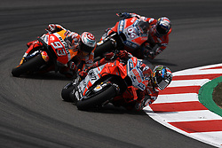June 17, 2018 - Barcelona, Catalonia, Spain - Jorge Lorenzo (99) of Spain and Ducati Team, Marc Marquez (93) of Spain and Repsol Honda Team, Andrea Dovizioso (4) of Italy and Ducati Team during the race day of the Gran Premi Monster Energy de Catalunya, Circuit of Catalunya, Montmelo, Spain. 17th June of 2018. (Credit Image: © Jose Breton/NurPhoto via ZUMA Press)