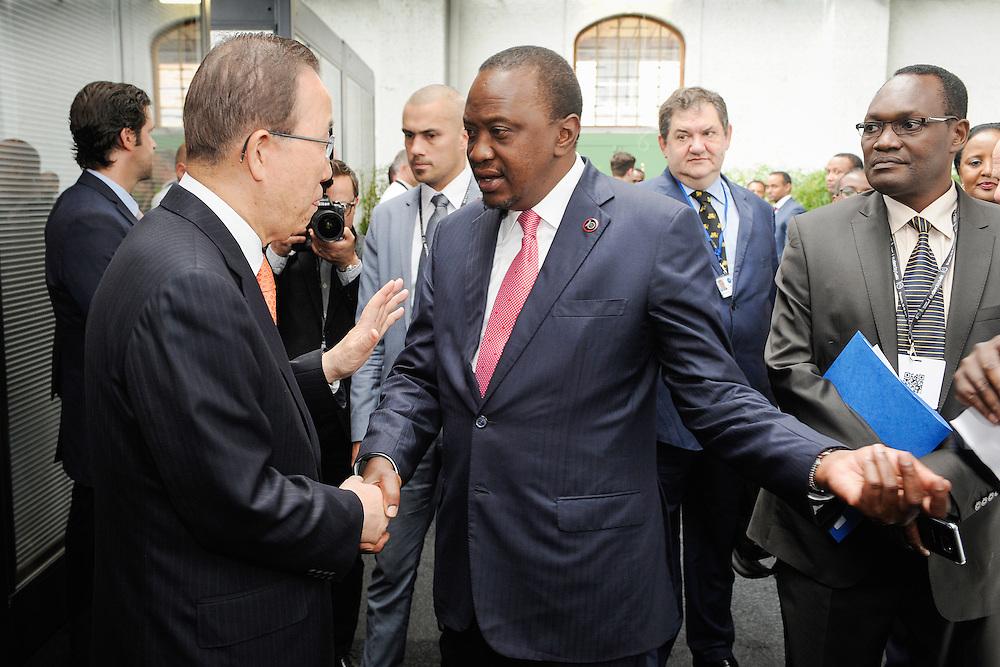20160615 - Brussels , Belgium - 2016 June 15th - European Development Days - Bilateral Meeting Ban Ki-Moon<br /> Secretary General, United Nations<br /> Uhuru Kenyatta and <br /> President and Commander-in-chief of the Defence Forces, Republic of Kenya<br /> © European Union