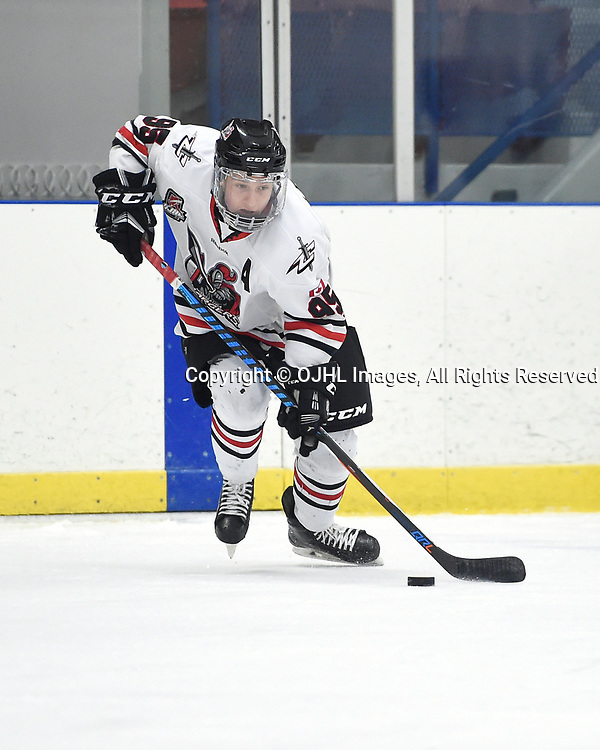 NORTH YORK, ON  - NOV 26,  2017: Ontario Junior Hockey League game between the North York Rangers and the Mississauga Chargers, Kyle Lewis #95 of the Mississauga Chargers skates with the puck during the first period.<br /> (Photo by Andy Corneau / OJHL Images)
