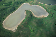 Alkaline Prairie Pothole; Lostwood National Wildlife Refuge, ND; aerial view;