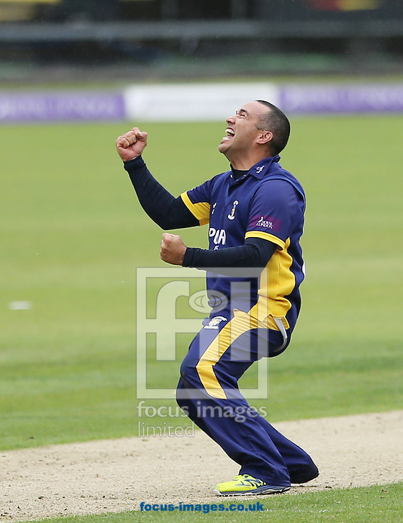 Gareth Breese of Durham County Cricket Club celebrates taking a wicket during the Royal London One Day Cup match at Emirates Durham ICG, Chester-le-Street<br /> Picture by Simon Moore/Focus Images Ltd 07807 671782<br /> 06/09/2014