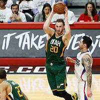 25 April 2017: Utah Jazz forward Gordon Hayward (20) passes the ball past LA Clippers guard JJ Redick (4) during the Utah Jazz 96-92 victory over the Los Angeles Clippers, during game 5 of the first round of the Western Conference playoffs, at the Staples Center, Los Angeles, California, USA.