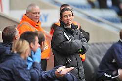 Amy Fearn Fourth Official, calms and jokes with Coventry Manager Tony Mowbray after referee Christopher Sarginson denies Coventry another Penalty,Coventry City v Shreswsbury Town FC  Ricoh Arena, Football Sky Bet League One, Saturday 3rd October 2015