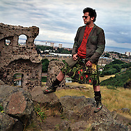 Howie Nicholsby, Creator and Designer of 21st Century Kilts in Holyrood Park in Edinburgh, Scotland, UK..