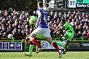 Forest Green Rovers Udoka Godwin-Malife(22) shoots at goal during the EFL Sky Bet League 2 match between Forest Green Rovers and Exeter City at the New Lawn, Forest Green, United Kingdom on 4 May 2019.
