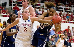 March 20, 2010; Stanford, CA, USA; Stanford Cardinal forward/center Jayne Appel (2) battles with UC Riverside Highlanders guard/forward Brittany Waddell (15) for a rebound during the first half in the first round of the 2010 NCAA womens basketball tournament at Maples Pavilion.  Stanford defeated UC Riverside 79-47.