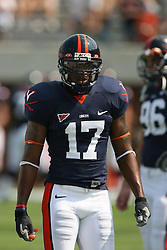 Virginia safety Brandon Woods (17)....The Virginia Cavaliers defeated the Wyoming Broncos 13-12 in overtime on September 9, 2006 at Scott Stadium in Charlottesville, VA.