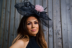 LIVERPOOL, ENGLAND - Thursday, April 6, 2017: Jenna O'leary, 23 from Southampton, during The Opening Day on Day One of the Aintree Grand National Festival 2017 at Aintree Racecourse. (Pic by David Rawcliffe/Propaganda)
