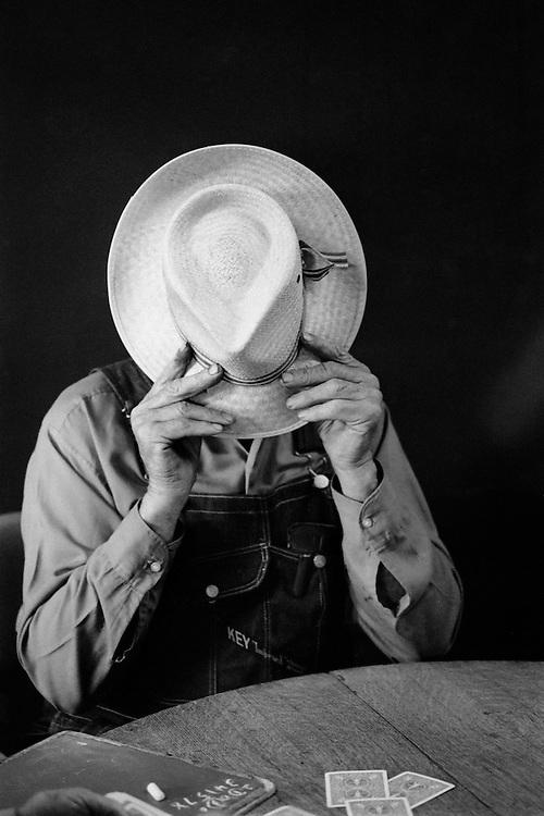 A shy card player, Mill Creek Tavern, Paxico, Kansas