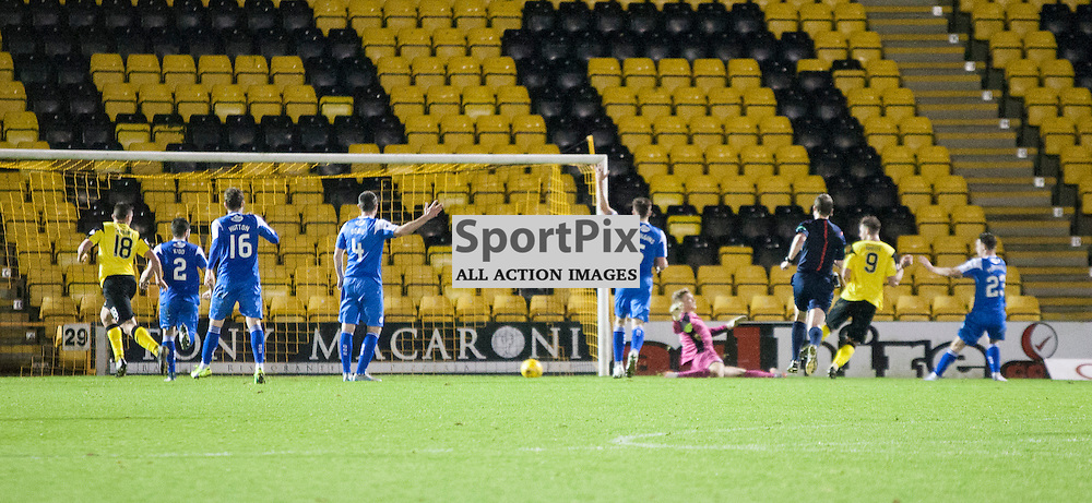 Livingston v Queen of the South, Scottish Championship, 2 January 2016, Jordan White (Livingston, 9) scores but is ruled offside by the assistant referee during the Livingston v Queen of the South Scottish Championship match played at the Toni Macaroni Arena, © Chris Johnston | SportPix.org.uk