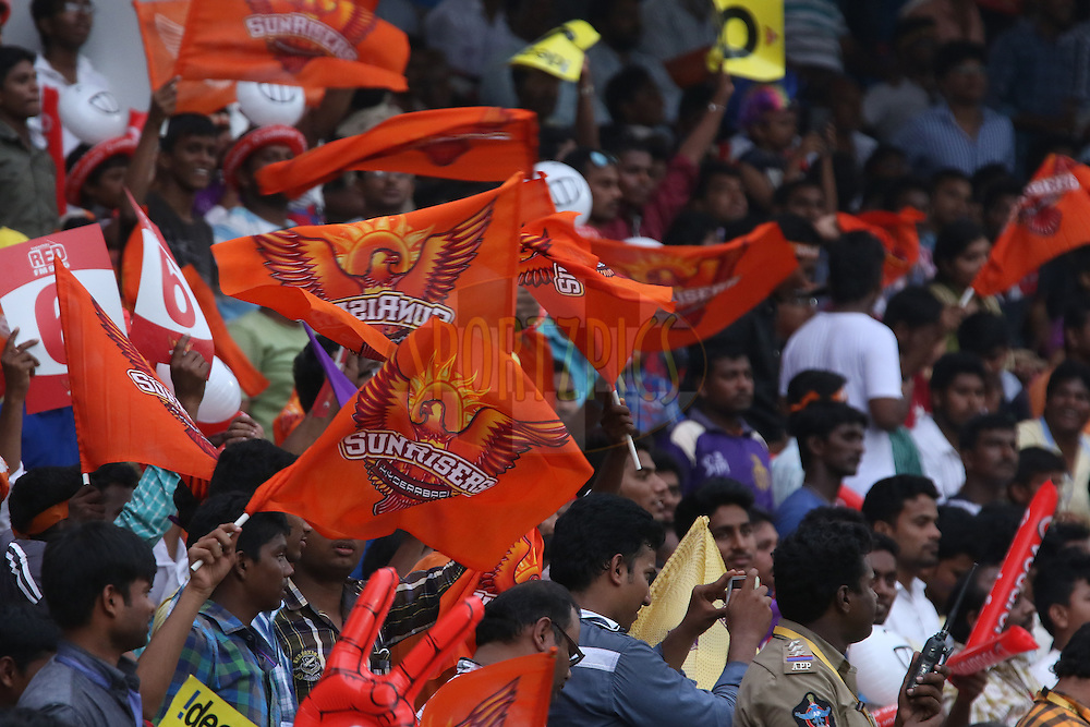 Fans during match 19 of the Pepsi IPL 2015 (Indian Premier League) between The Sunrisers Hyderabad and The Kolkayta Knight Riders held at the ACA-VDCA Stadium in Visakhapatnam India on the 22nd April 2015.<br /> <br /> Photo by:  Saikat Das / SPORTZPICS / IPL