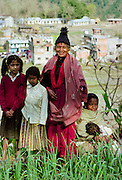 Women and children living in the foothills of the Himalayas at Pokhara in Nepal