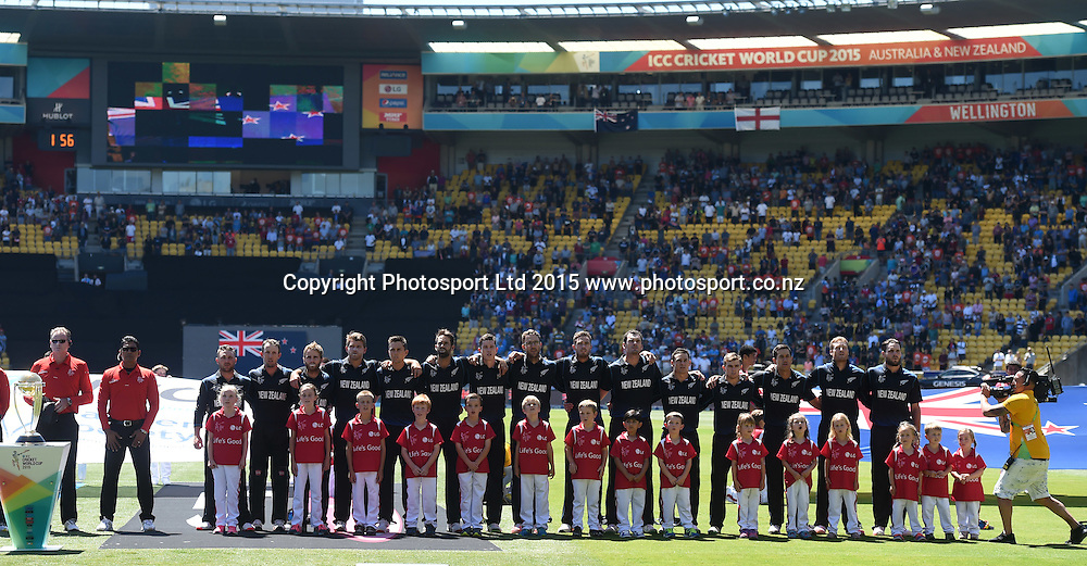 New Zealand players line up for the national anthem at the ICC Cricket World Cup match between New Zealand and England in Wellington, New Zealand. Friday 20 February 2015. Copyright Photo: Andrew Cornaga / www.Photosport.co.nz