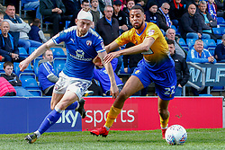 Andy Kellett of Chesterfield and CJ Hamilton of Mansfield Town chase down the ball - Mandatory by-line: Ryan Crockett/JMP - 14/04/2018 - FOOTBALL - Proact Stadium - Chesterfield, England - Chesterfield v Mansfield Town - Sky Bet League Two