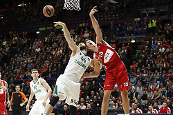 November 9, 2017 - Assago, Milan, Italy - Kaleb Tarczewski(#15 AX Armani Exchange Milan)at dx and Antanas Kavaliauskas (#44 Zalgiris Kaunas) fight for a rebound during a game of Turkish Airlines EuroLeague basketball between  AX Armani Exchange Milan vs Zalgiris Kaunas at Mediolanum Forum on November 9, 2017 in Milan, Italy. (Credit Image: © Roberto Finizio/NurPhoto via ZUMA Press)