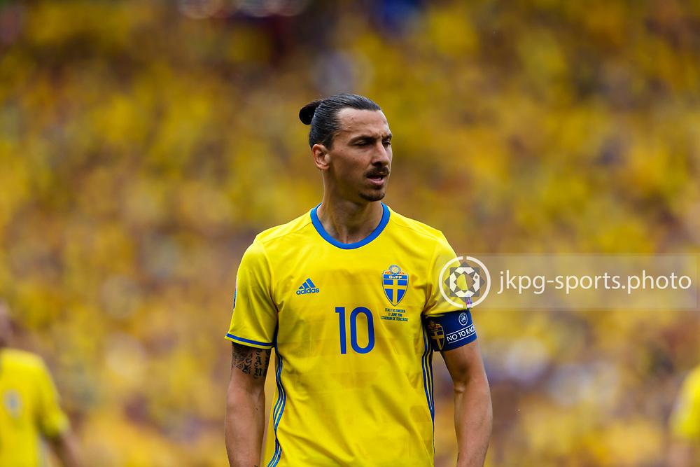 June 17 2016, Euro 2016 Italy- Sweden<br /> (10) Zlatan Ibrahimović, (SWE), singel action.<br /> Editorial Use Only.<br /> Local caption:<br /> Em Fotboll, Italien - Sverige, 20160617<br /> (10) Zlatan Ibrahimović, (SWE), singel action.<br /> Endast f&ouml;r redaktionellt bruk.<br /> &copy; Daniel Malmberg/Jkpg sports photo