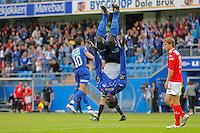 MOLDE 20080723: Moldes Mame Biram Diouf feirer 6-0 scoringen med salto under cupkampen mellom Molde og Brann p&aring; Aker stadion i Molde onsdag kveld. <br /> Foto: Svein Ove Ekornesv&aring;g