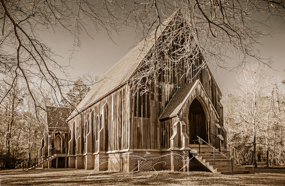 """St. Luke's Episcopal Church is pictured, Feb. 7, 2015, in Orrville, Alabama. The Carpenter Gothic church was designed by Richard Upjohn and built in 1854. It was relocated to Old Cahawba Archaeological Park in 2007. The church is listed in the National Register of Historic Places and is owned by the Alabama Historical Commission. Cahaba, also known as """"Old Cahawba,"""" was Alabama's state capital from 1819-1826 but was abandoned after the Civil War. It is now considered a ghost town. It is located in Dallas County near Selma, Alabama. (Photo by Carmen K. Sisson/Cloudybright)"""