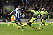 Reading defender Tyler Blackett (24) tackles Brighton & Hove Albion winger Anthony Knockaert (11) during the EFL Sky Bet Championship match between Brighton and Hove Albion and Reading at the American Express Community Stadium, Brighton and Hove, England on 25 February 2017.