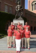Oct 5, 2016; Los Angeles, CA, USA; Southern California Trojans track director Caryl Smith Gilbert (front) poses with assistant coaches in front of Tommy Trojan statue at portrait session. Second row: hurdles coach Joanna Hayes, director of operations Kyrah McCowan, distance coach David Freeman and director of operations Amanda Skowronek. Back row: throws coach Dan Lange, jumps coach Sheldon Blockburger and sprints coach Quincy Watts.
