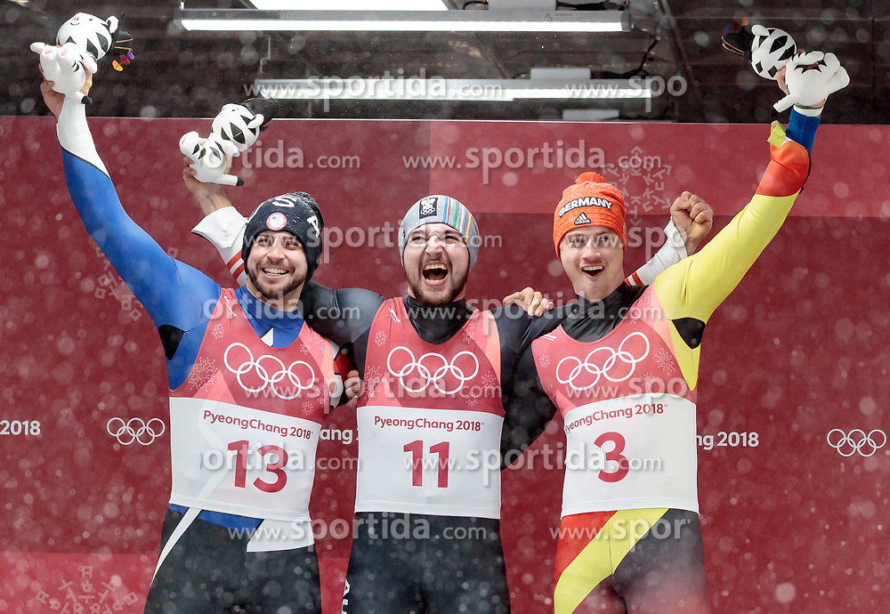 11.02.2018, Olympic Sliding Centre, Pyeongchang, KOR, PyeongChang 2018, Rodeln, Herren, flowers ceremony, im Bild v.l. Chris Mazdzer (USA, 2. Platz), David Gleirscher (AUT, 1. Platz und Goldmedaillengewinner), Johannes Ludwig (GER, 3. Platz) // f.l. silver medalist Chris Mazdzer of the USA gold medalist and Olympic champion David Gleirscher of Austria bronce medalist Johannes Ludwig of Germany during the flowers ceremony of the Men's Luge Singles competition at the Olympic Sliding Centre in Pyeongchang, South Korea on 2018/02/11. EXPA Pictures © 2018, PhotoCredit: EXPA/ Johann Groder