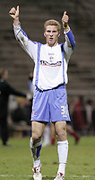 Photo: Dave Howarth.<br />Rotherham United v Swindon Town. Coca Cola League 1.<br />03/12/2005.  Petr Mikolanda gives the thumbs up to a great victory