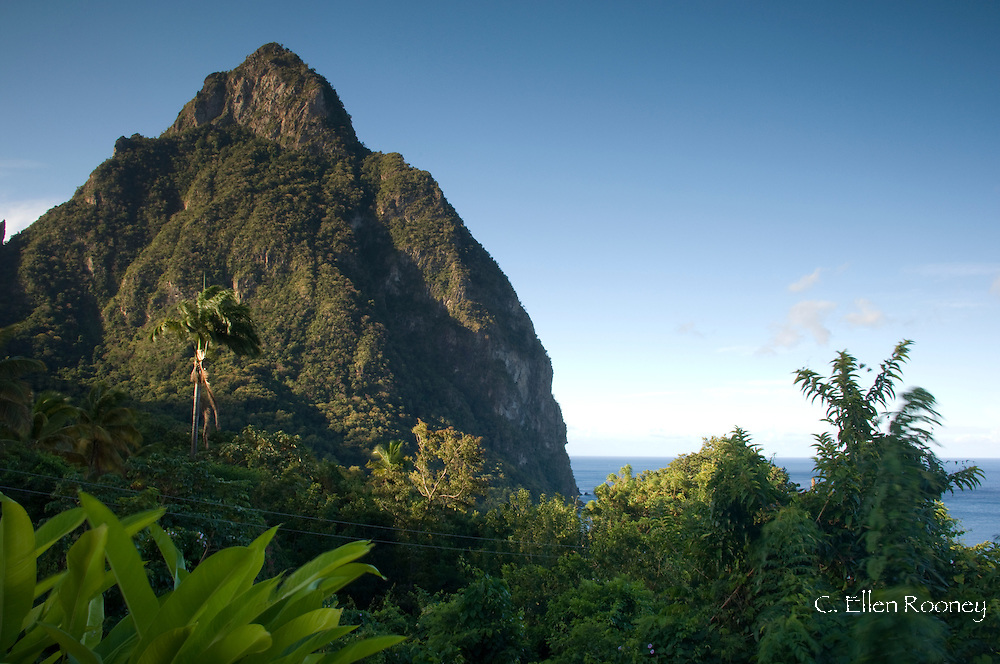 A view of the Petit Piton from the Stonefield Plantation near Soufriere, St Lucia,<br /> The Windward Islands, The Caribbean