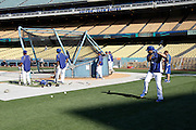 LOS ANGELES, CA - AUGUST 07:  The Los Angeles Dodgers take batting practice before the game against the Colorado Rockies on Tuesday, August 7, 2012 at Dodger Stadium in Los Angeles, California. The Rockies won the game 3-1. (Photo by Paul Spinelli/MLB Photos via Getty Images)