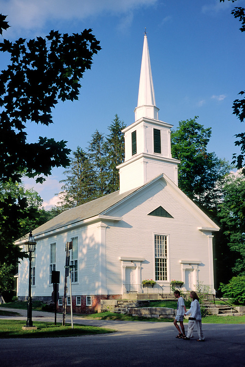 The 18 C. village of Grafton, Vermont, New England, USA. The timber White Church on the Main Street