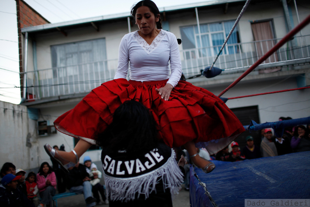 Cholita wrestlers fight during a private show at a house in La Paz, Bolivia, Saturday, July 10, 2010. (Photo Dado Galdieri)
