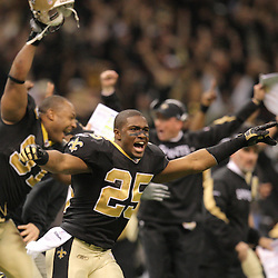 Jan 24, 2010; New Orleans, LA, USA; New Orleans Saints running back along with teammates rush the field following an overtime victory over the Minnesota Vikings in e 2010 NFC Championship game at the Louisiana Superdome. Mandatory Credit: Derick E. Hingle-US PRESSWIRE