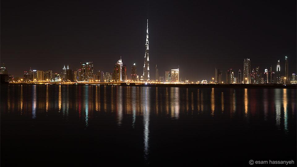 Dubai skyline and the Burj Khalifa.