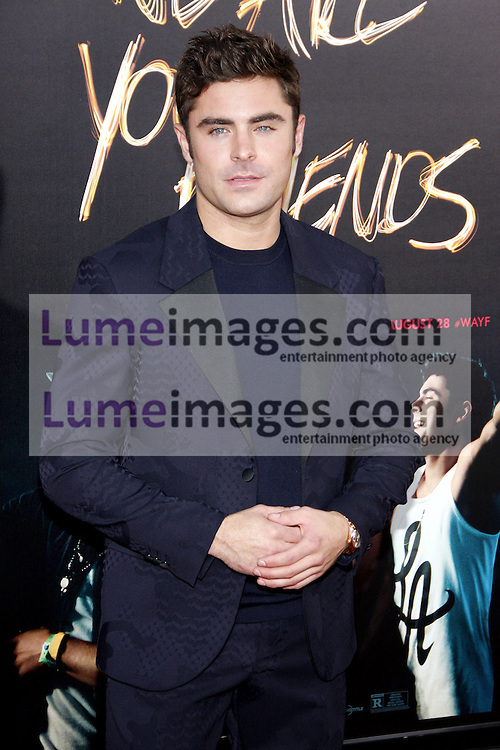 HOLLYWOOD, CA - AUGUST 20, 2015: Zac Efron at the Los Angeles premiere of 'We Are Your Friends' held at the TCL Chinese Theatre in Hollywood, USA on August 20, 2015.