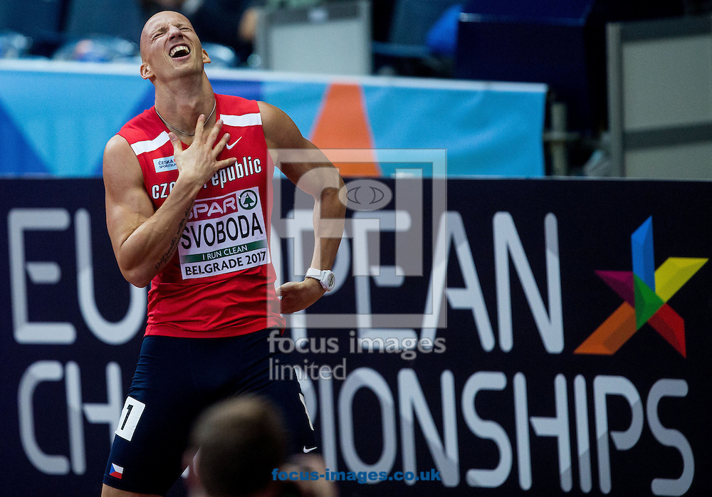Third placed Petr Svoboda of Czech Republic reacts after the 60m Hurdles Men Final on day one of the 34th European Indoor Athletics Championships Belgrade 2017 at the Kombank Arena, Belgrade<br /> Picture by EXPA Pictures/Focus Images Ltd 07814482222<br /> 03/03/2017<br /> *** UK &amp; IRELAND ONLY ***<br /> <br /> EXPA-SLO-170303-0010.jpg