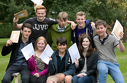 © Licensed to London News Pictures.22/08/2013. Solihull, West Midlands, UK. Solihull School achieved outstanding GSCE Level Results this year, up on previous years, with 77% of pupils gaining A grade or A Stars. Pictured, 80 A stars, that's 10 each, back from left, Joe Lankaster (correct), Isaac Webber, Harry Sharpe, sitting from left, David Clarke, Katie Williams, Jack Hines, Caroline Camm (correct), James Green. Photo credit : Dave Warren/LNP