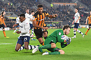 Preston North End goalkeeper Chris Maxwell (22) takes ball safe from Hull City forward Fraizer Campbell (25) during the EFL Sky Bet Championship match between Hull City and Preston North End at the KCOM Stadium, Kingston upon Hull, England on 26 September 2017. Photo by Ian Lyall.