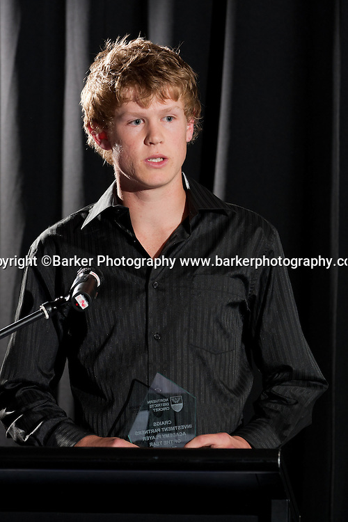 Northern Districts Cricket Awards, Academy Player of the Year, Ben Hyde, Northland, Tainui Novotel Hotel, Friday 8 April 2011, Hamilton, New Zealand.  Photo: Stephen Barker/Barker Photography/PHOTOSPORT  ©Barker Photography www.barkerphotography.co.nz