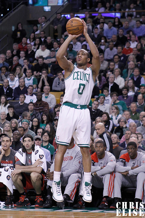 06 March 2012: Boston Celtics shooting guard Avery Bradley (0) takes a three points jumpshot during the Boston Celtics 97-92 (OT) victory over the Houston Rockets at the TD Garden, Boston, Massachusetts, USA.