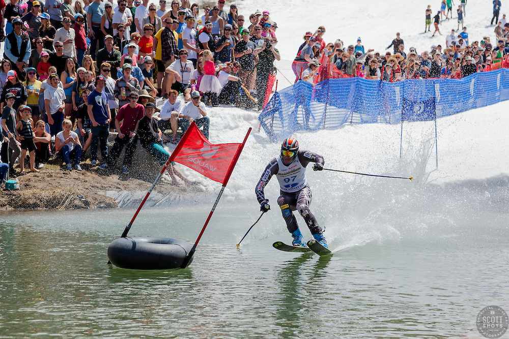 """""""Cushing Classic at Squaw Valley 23"""" - Photograph of a skier crossing a pond during the Cushing Classic at Squaw Valley, USA."""