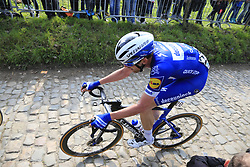 Kasper Asgreen (DEN) Deceuninck-Quick Step climbs the Koppenberg during the 2019 Ronde Van Vlaanderen 270km from Antwerp to Oudenaarde, Belgium. 7th April 2019.<br /> Picture: Eoin Clarke | Cyclefile<br /> <br /> All photos usage must carry mandatory copyright credit (© Cyclefile | Eoin Clarke)