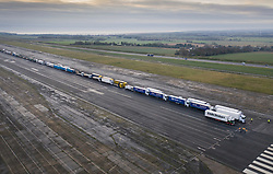 © Licensed to London News Pictures. 07/01/2019. Manston, UK. Trucks are seen leaving the runway of disused Manston airfield as they take part in a no-deal Brexit planning exercise. Up to 150 lorries are going to test traffic conditions on the 20 mile route between Manston and the Port of Dover.  Photo credit: Peter Macdiarmid/LNP