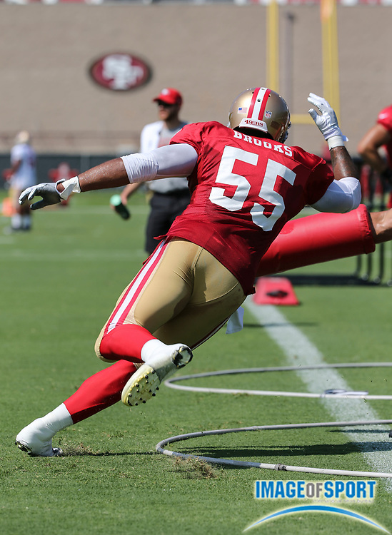 August 8, 2017; Santa Clara, CA, USA; San Francisco 49ers linebacker Ahmad Brooks (55) during agility drills at training camp at the SAP Performance  Facility.