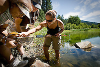 "JEROME A. POLLOS/Press..Jean Shawver, left, Vickie Owing and Holly Wuest search through algae and mud pulled from the bottom of the wetland area at Beauty Creek to find bugs, worms and other water creatures Thursday. The activity was held by a program called ""Project Wet"" that educates teachers on environmental water science and how to build lesson plans for their students."